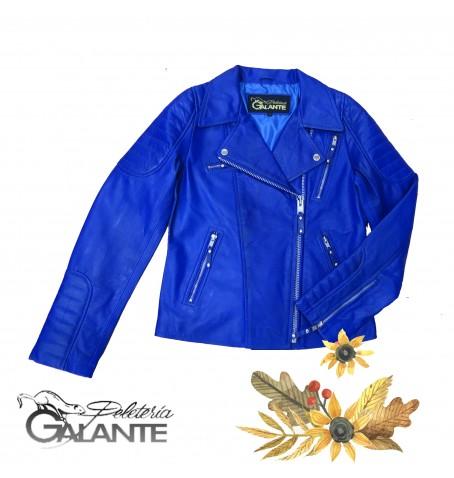 CAZADORA PIEL PERFECTO ROYAL BLUE